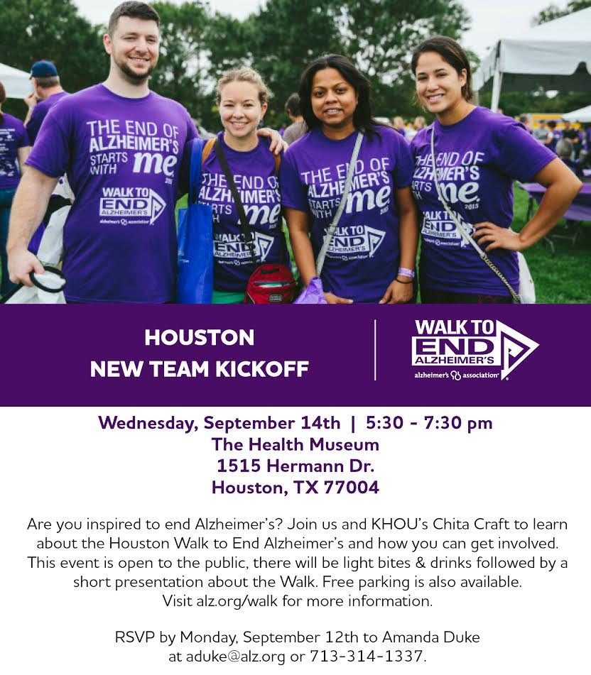 Alzeimer's Houston Texas Walk2EndAlz Kick Off