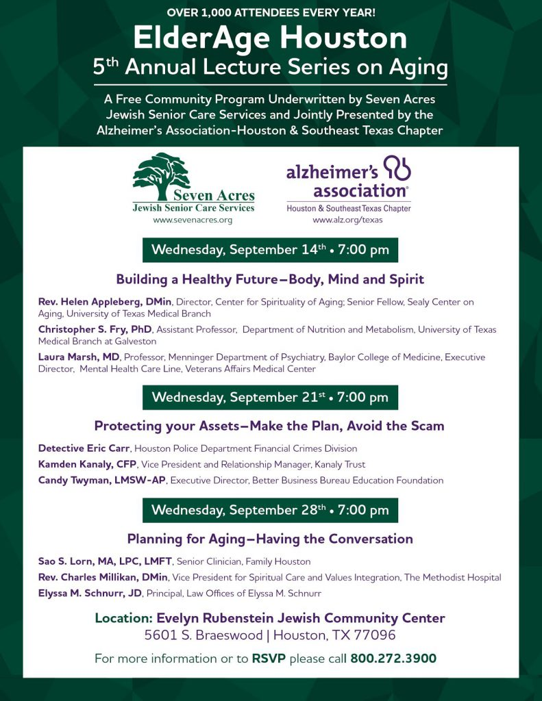 Alzheimer's Elder Age Series Houston lecture