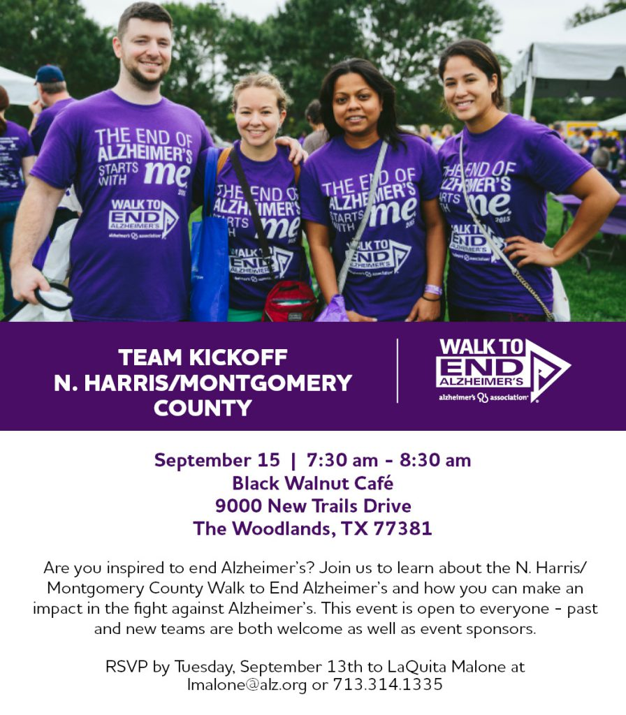 Alzheimer's Houston New Team Kickoff Woodlands