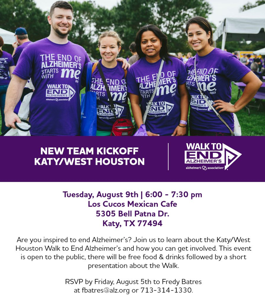 Walk to End Alzheimer's - Katy New Team Kick-off - walk2endalz