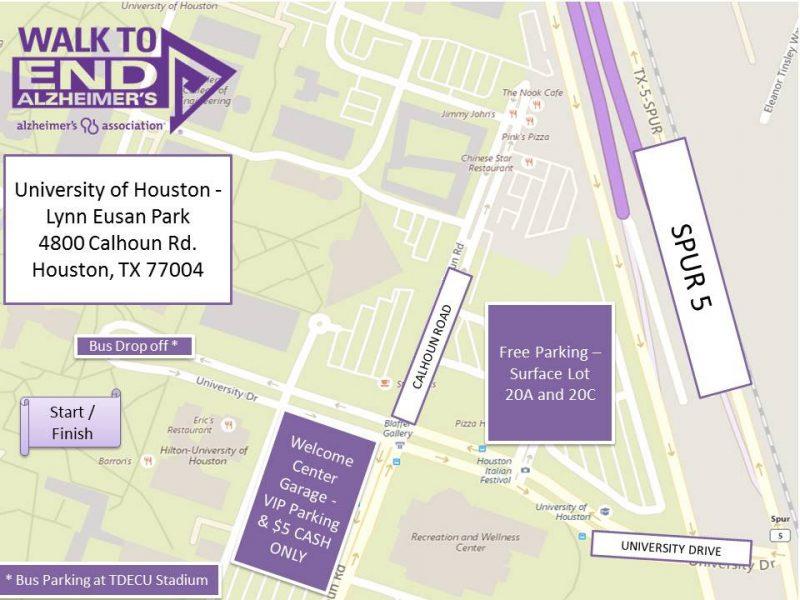 Houston Walk to End Alzheimer's Logistics Map