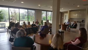 Carol Poole visits with the Alzhiemer's Association in Houston, TX