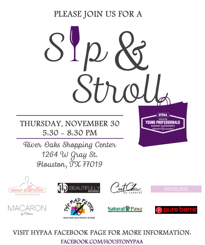 Sip & Stroll into the Holidays with the Houston Young Professionals Against Alzheimer's